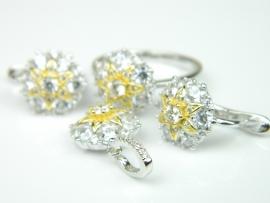 Set bijuterii argint rodiat si aurit, inel, cercei si pandantiv, zirconii