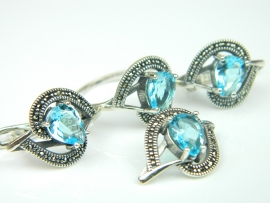 Set bijuterii argint, 4 piese, topaz bleu si marcasite