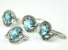 Set bijuterii argint rodiat, aspect aur alb, 4 piese, topaz bleu si marcasite