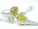 Set bijuterii argint rodiat, aspect aur alb, 4 piese, piatra verde si zirconii