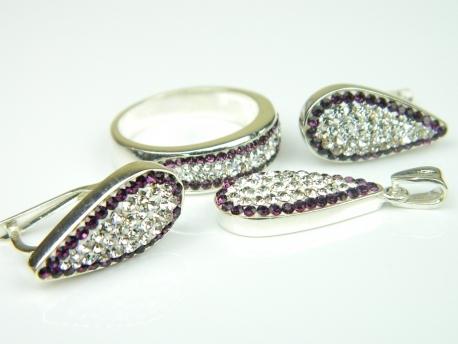 Set bijuterii argint, inel, cercei si pandantiv, zirconii mov si albe