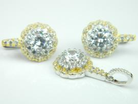 Set bijuterii argint rodiat si aurit, cercei si pandantiv, topaz si zirconii