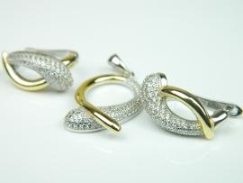 Set bijuterii argint rodiat si aurit, cercei si pandantiv, zirconii