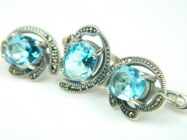 Set bijuterii argint, inel si cercei, topaz bleu si marcasite