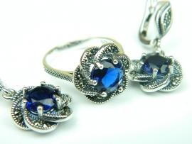 Set bijuterii argint, inel si cercei, safir si marcasite