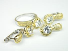 Set bijuterii argint rodiat si aurit, inel, cercei si pandantiv, topaz si zirconii