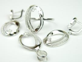 Set bijuterii argint rodiat, aspect aur alb, 4 piese, zirconii