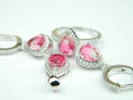 Set bijuterii argint rodiat, aspect aur alb, inel, cercei si pandantiv, piatra curcubeu si zirconii