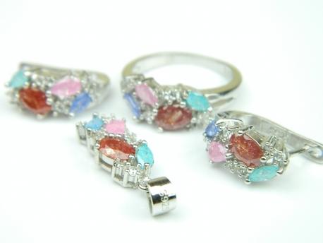 Set bijuterii argint rodiat, aspect aur alb, 4 piese