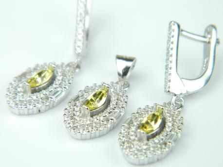 Set bijuterii argint rodiat, aspect aur alb, cercei si pandantiv, citrin si zirconia
