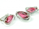 Set bijuterii argint rodiat, aspect aur alb, cercei si pandantiv, rubin