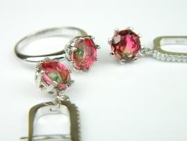 Set bijuterii argint rodiat, aspect aur alb, cercei si inel, piatra curcubeu si zirconia