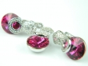 Set bijuterii argint rodiat, aspect aur alb, cercei si pandantiv, topaz roz si zirconia