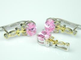 Set bijuterii argint rodiat si aurit, aspect aur alb si galben, cercei si pandantiv, topaz roz si zirconia