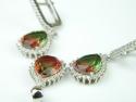 Set bijuterii argint rodiat, aspect aur alb, cercei si pandantiv, curcubeu si zirconia