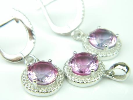 Set bijuterii argint rodiat, aspect aur alb, piatra curcubeu si zirconia