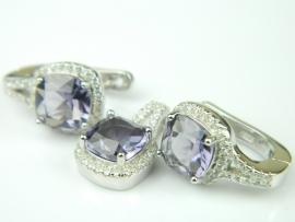 Set bijuterii argint rodiat, aspect aur alb, ametist si zirconia