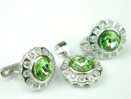 Set bijuterii argint rodiat, aspect aur alb, peridot si zirconia