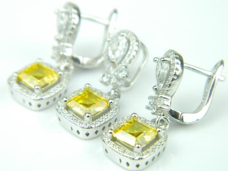 Set bijuterii argint rodiat, aspect aur alb, citrin, topaz alb si zirconia
