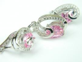 Set bijuterii argint rodiat, aspect aur alb, topaz roz si zirconia