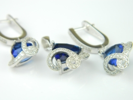 Set bijuterii argint rodiat, aspect aur alb, safir si zirconia