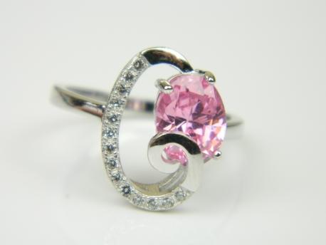 Inel argint rodiat, aspect aur alb, topaz roz si zirconii