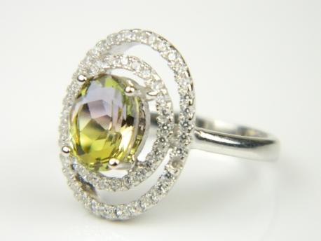 Inel argint rodiat, aspect aur alb, piatra curcubeu si zirconii