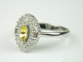 Inel argint rodiat, aspect aur alb, citrin si zirconii