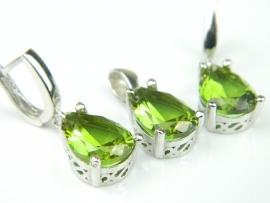 Set bijuterii argint rodiat, aspect aur alb, cercei si pandantiv, zultanit