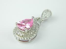 Pandantiv argint rodiat, aspect aur alb, topaz roz si zirconii