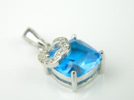 Pandantiv argint rodiat, aspect aur alb, topaz bleu si zirconii
