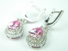 Cercei argint rodiat, aspect aur alb, topaz roz si zirconia