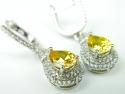 Cercei argint rodiat, aspect aur alb, citrin si zirconia