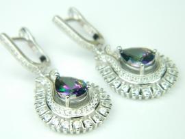 Cercei argint rodiat, aspect aur alb, topaz mistic si zirconia