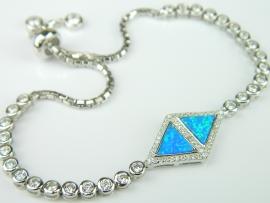 Bratara argint rodiat, aspect aur alb, opal imperial si zirconii