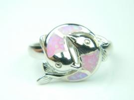 Inel argint rodiat, aspect aur alb, opal roz
