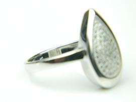 Inel argint rodiat, aspect aur alb, zirconii