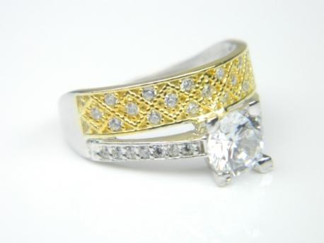 Inel logodna, argint rodiat si aurit, aspect aur alb si galben, topaz alb si zirconii