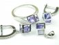 Set bijuterii argint rodiat, aspect aur alb, patru piese, ametist