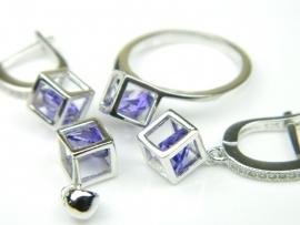 Set bijuterii argint rodiat, aspect aur alb, patru piese, ametist si zirconii