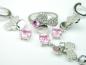 Set bijuterii argint rodiat, aspect aur alb, patru piese, topaz roz si zirconia
