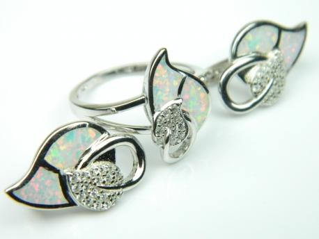 Set bijuterii argint rodiat, aspect aur alb, cercei si inel, opal alb si zirconia