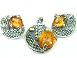 Set bijuterii argint, handmade, vintage, cercei si pandantiv, chihlimbar