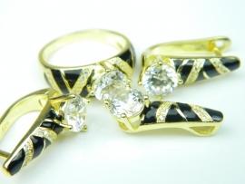 Set bijuterii argint aurit, topaz, email si zirconia