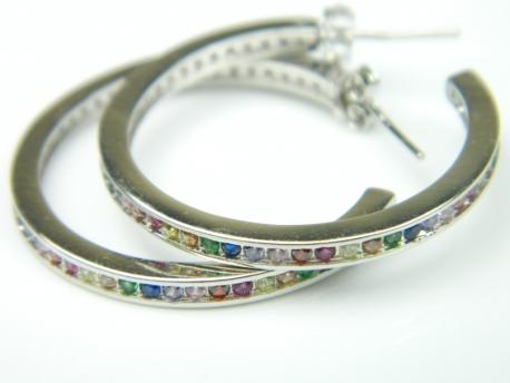 Cercei argint rodiat, aspect aur alb, zirconii multicolore