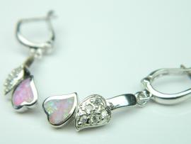 Cercei argint rodiat, aspect aur alb, opal roz si zirconia
