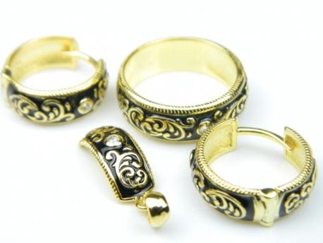 Set argint aurit, patru piese, email si zirconii