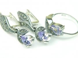 Set bijuterii argint, cercei si inel, ametist si marcasite