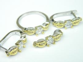 Set bijuterii argint rodiat si aurit, patru piese, topaz alb si zirconia