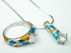 Set bijuterii argint rodiat, aspect aur alb, inel, pandantiv si lantisor, email, topaz alb si zirconia